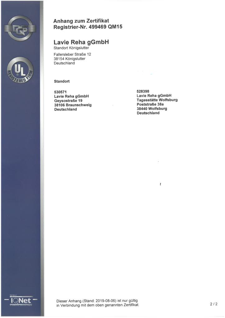 ISO 9001: Zertfikat Seite 2
